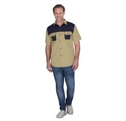 Mens Short Sleeve Serengeti 2Tone Bush Shirt