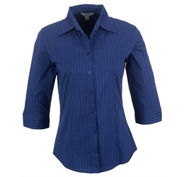 Ladies 3/4 Sleeve Manhattan Striped Shirt  Blue Only