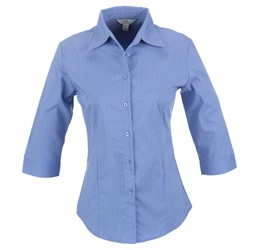 Ladies 3/4 Sleeve Manhattan Striped Shirt  Light Blue Only