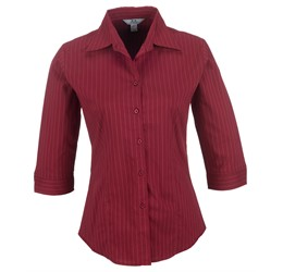 Ladies 3/4 Sleeve Manhattan Striped Shirt  Red Only