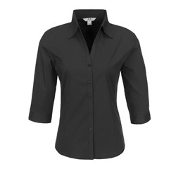 Ladies 3/4 Sleeve Metro Shirt  Black Only