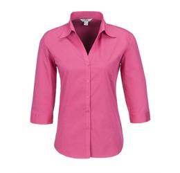 Ladies 3/4 Sleeve Metro Shirt  Fuscia Only