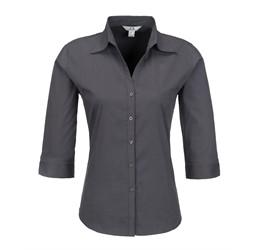 Ladies 3/4 Sleeve Metro Shirt  Grey Only