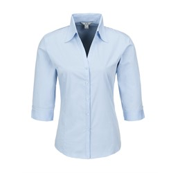 Ladies 3/4 Sleeve Metro Shirt  Light Blue Only