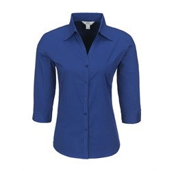 Ladies 3/4 Sleeve Metro Shirt  Royal Blue Only