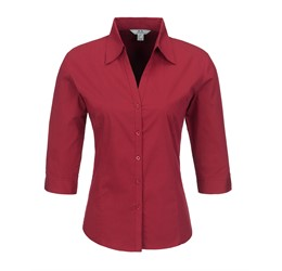 Ladies 3/4 Sleeve Metro Shirt  Red Only