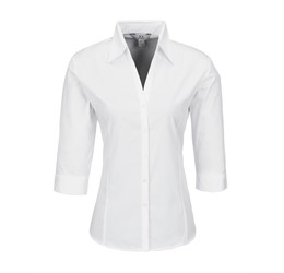 Ladies 3/4 Sleeve Metro Shirt  White Only