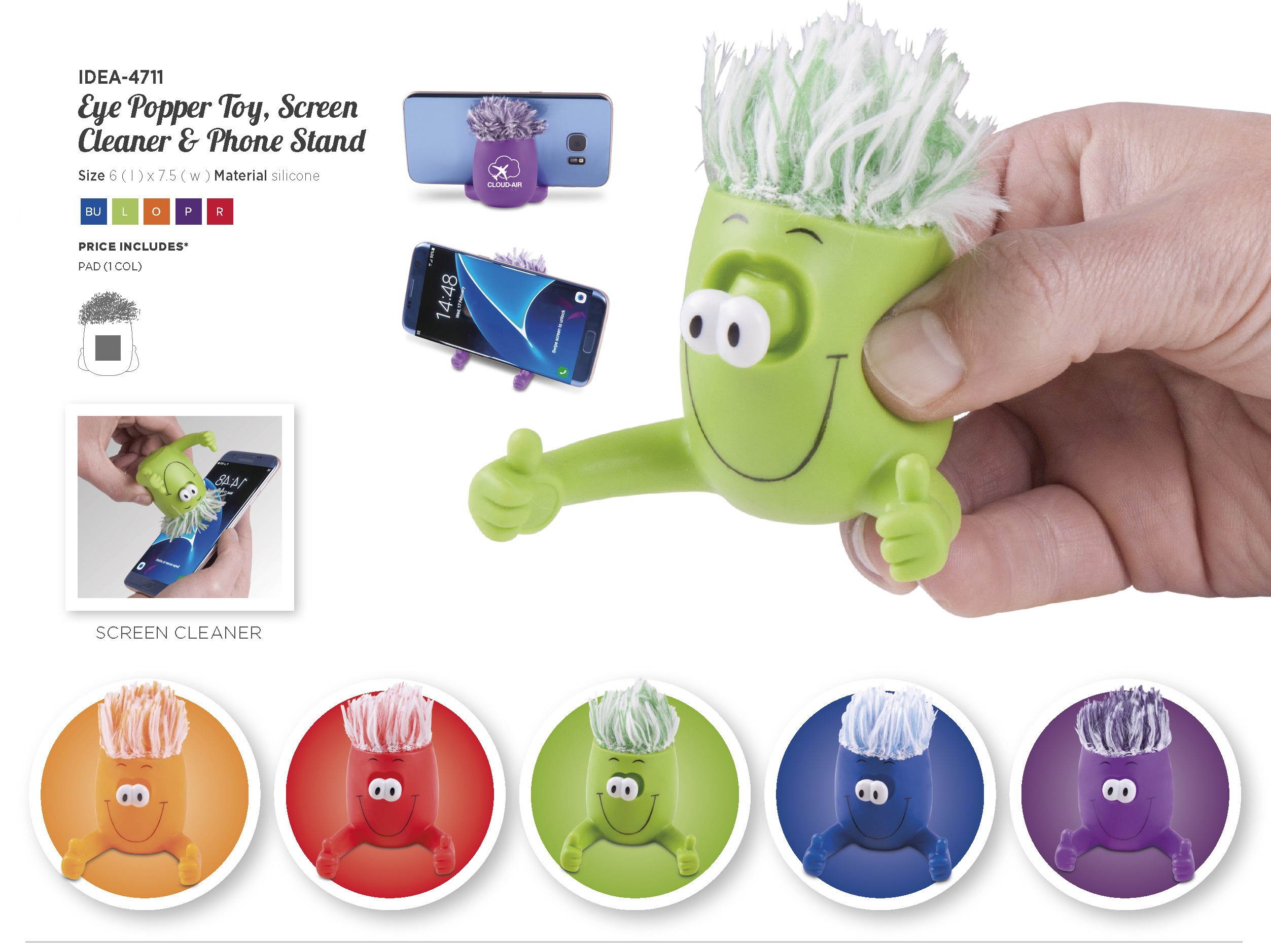 Product: Eye Popper Toy Screen Cleaner And Phone Stand